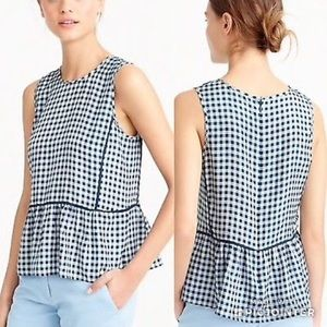 J CREW Ruffle hem silk plaid checkered top blouse
